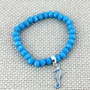 New Blue Seahorse Beaded Bracelet!